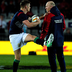 Owen Farrell warms up with coach Neil Jenkins before the 2017 DHL Lions Series rugby union match between the NZ All Blacks and British & Irish Lions at Eden Park in Auckland, New Zealand on Saturday, 24 June 2017. Photo: Dave Lintott / lintottphoto.co.nz