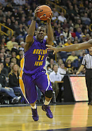 December 07 2010: Northern Iowa Panthers guard Kwadzo Ahelegbe (11) drives in the lane during the first half of their NCAA basketball game at Carver-Hawkeye Arena in Iowa City, Iowa on December 7, 2010. Iowa defeated Northern Iowa 51-39.