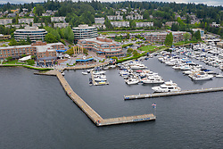 United States, Washington, Kirkland, Carillon Point Marina  (aerial view)