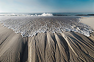 Wave, Sand Striations, New York, Quogue, Colored Black and White