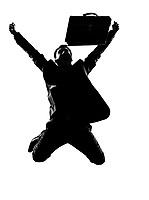 silhouette caucasian business man  expressing winning winner energy success  full length on studio isolated white background 1
