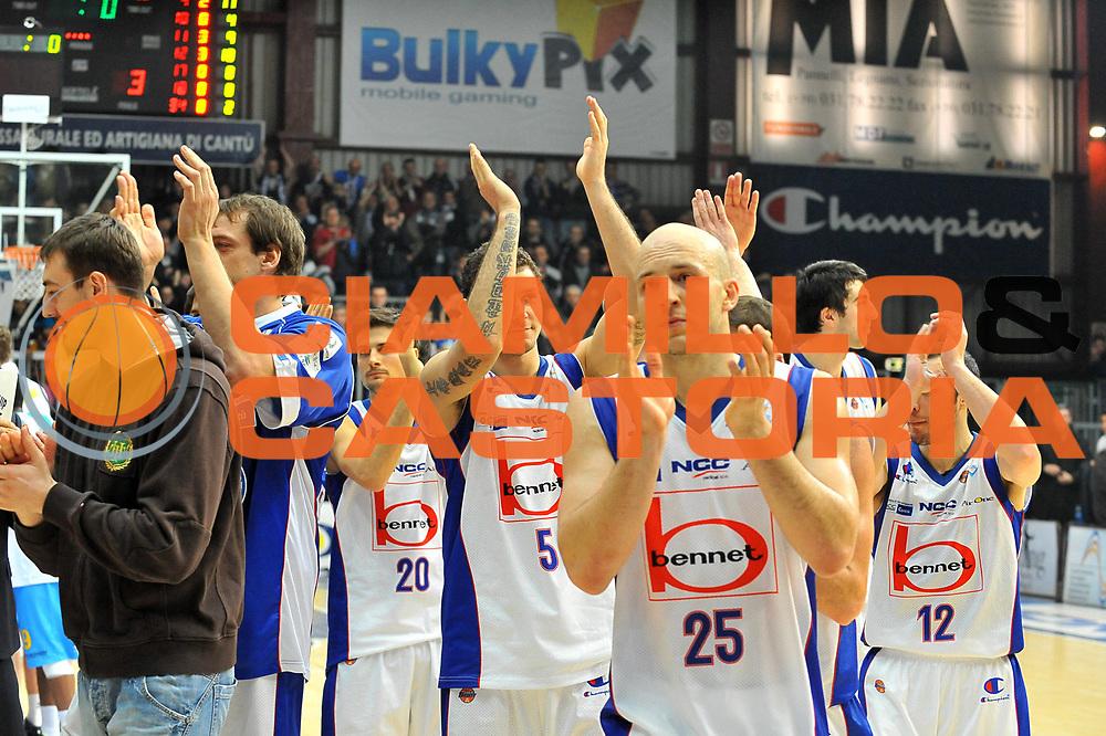 DESCRIZIONE : Cantu Lega A 2011-12 Bennet cantu Vanoli Braga Cremona<br /> GIOCATORE : Team Bennet Cantu<br /> SQUADRA :  Bennet cantu <br /> EVENTO : Campionato Lega A 2011-2012 <br /> GARA : Bennet cantu Vanoli Braga Cremona<br /> DATA : 22/01/2012<br /> CATEGORIA : Esultanza<br /> SPORT : Pallacanestro <br /> AUTORE : Agenzia Ciamillo-Castoria/ L.Goria<br /> Galleria : Lega Basket A 2011-2012 <br /> Fotonotizia : Cantu Lega A 2011-12  Bennet cantu Vanoli Braga Cremona<br /> Predefinita