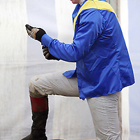 Dermot O' Halloran gets himself ready for the next race at the Killaloe Point to Point on Sunday.<br />