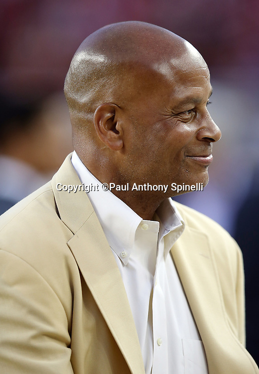 Former San Francisco 49ers safety Ronnie Lott takes part in a special ceremony honoring former 49ers defensive end Charles Haley (not pictured) before the San Francisco 49ers 2015 NFL week 1 regular season football game against the Minnesota Vikings on Monday, Sept. 14, 2015 in Santa Clara, Calif. The 49ers won the game 20-3. (©Paul Anthony Spinelli)