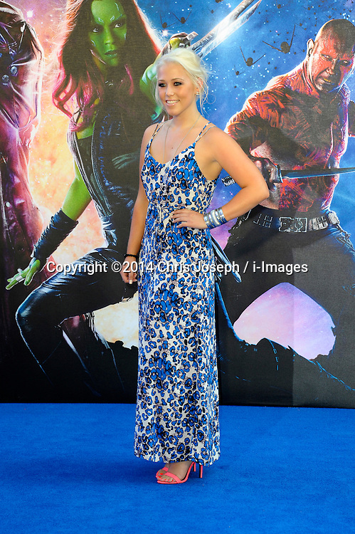 Image ©Licensed to i-Images Picture Agency. 24/07/2014. London, United Kingdom. Amelia Lily attends the UK Premiere of 'Guardians of the Galaxy' at Empire Leicester Square. Picture by Chris Joseph / i-Images