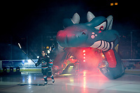 KELOWNA, CANADA - SEPTEMBER 22:  Liam Kindree #26 of the Kelowna Rockets enters the ice against the Kamloops Blazers on September 22, 2018 at Prospera Place in Kelowna, British Columbia, Canada.  (Photo by Marissa Baecker/Shoot the Breeze)  *** Local Caption ***