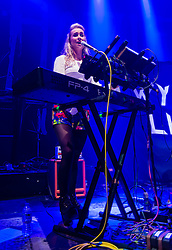 © Licensed to London News Pictures. 01/06/2015. London, UK.   Wyvern Lingo performing live at The Roundhouse, supporting headliner Hozier.   In this picture - Karen Cowley.  Wyvern Lingo is composed of members Karen Cowley (Vocals/Piano), Saoirse Duane (Guitar), Caoimhe Barry (Vocals/Percussion).  Photo credit : Richard Isaac/LNP