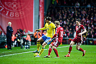 17.11.2015. Copenhagen, Denmark. <br /> Zlatan Ibrahimovic (L) of Sweden fights for the ball with Christian Eriksen (R) of Denmark during their UEFA EURO 2016 play-off second leg round match at the Telia Parken Stadium. <br /> Photo: © Ricardo Ramirez.