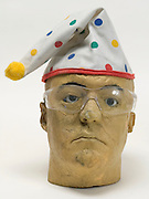 life like head with glasses and funny clowns hat