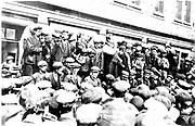 Tom Mann (1886-1941) British trade unionist born Coventry, Warwickshire, addressing the strikers. Photograph.