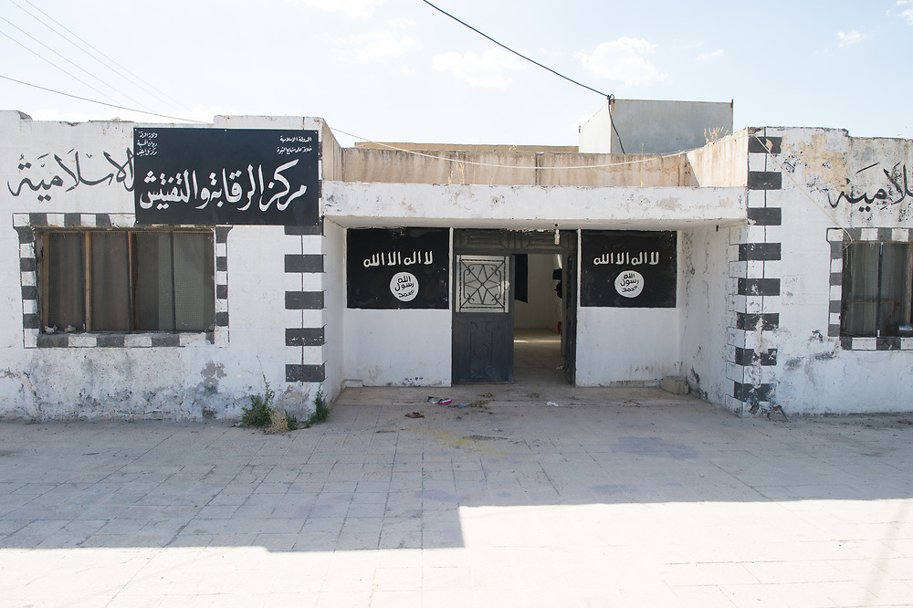 An abandoned building in Tell Abyad used by ISIS for administration issues. Tell Abyad, Syria, June 18, 2015