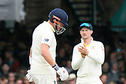 Jonny Bairstow of England with his helmet fitted with a neck guard during the International Test Match 2019 match between England and Australia at Lord's Cricket Ground, St John's Wood, United Kingdom on 18 August 2019.