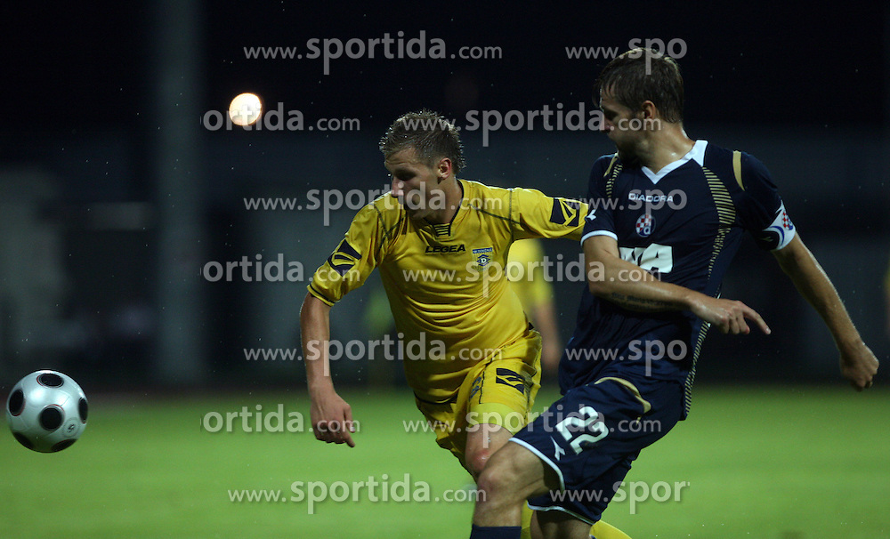 Dzengis Cavusevic of Domzale and Igor Biscan of Dinamo at 1st football game of 2nd Qualifying Round for UEFA Champions league between NK Domzale vs HNK Dinamo Zagreb, on July 30, 2008, in Domzale, Slovenia. Dinamo won 3:0. (Photo by Vid Ponikvar / Sportal Images)