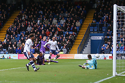 Byron Moore of Bury has a shot saved by the keeper - Mandatory by-line: JMP - 04/05/2019 - FOOTBALL - Gigg Lane - Bury, England - Bury v Port Vale - Sky Bet League Two