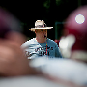 August 31, 2009 - Bronx, NY : The Riverdale Country School football team spent much of the day working out at the school's lower school campus on Monday.  Riverdale head coach Declan Walsh conducts practice on Monday.