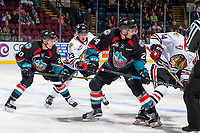 KELOWNA, CANADA - OCTOBER 20: Ilijah Colina #23 of the Portland Winterhawks stick checks Conner Bruggen-Cate #20 of the Kelowna Rockets after the face off on October 20, 2017 at Prospera Place in Kelowna, British Columbia, Canada.  (Photo by Marissa Baecker/Shoot the Breeze)  *** Local Caption ***