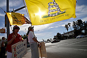 """Tucson Tea Party Coalition member, Rosa Cannoli, (right), along with about 30 others, protests what the coalition says is """"the unholy alliance of Barack H. Obama, Jan Brewer, special interests, and turncoat Republicans,"""" regarding """"OBrewercare/Obamacare/Medicaid Expansion in Arizona"""" on June 21, 2013 in Tucson, Arizona, USA.  Cannoli says that she is a legal immigrant from South America who has lived in the US """"for many years."""""""