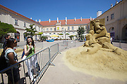 Vienna. MuseumsQuartier (MQ Vienna) is celebrating its 10th year..Sand sculpture by  World Sand Sculpting Academy (Netherlands).