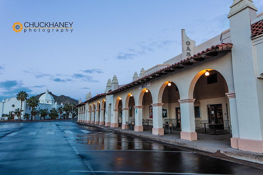 Historic plaza and railroad depot at dawn in Ajo, Arizona, USA