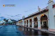 Historic plaza and railroad depot at dawn in Ajo, Arizona, USA