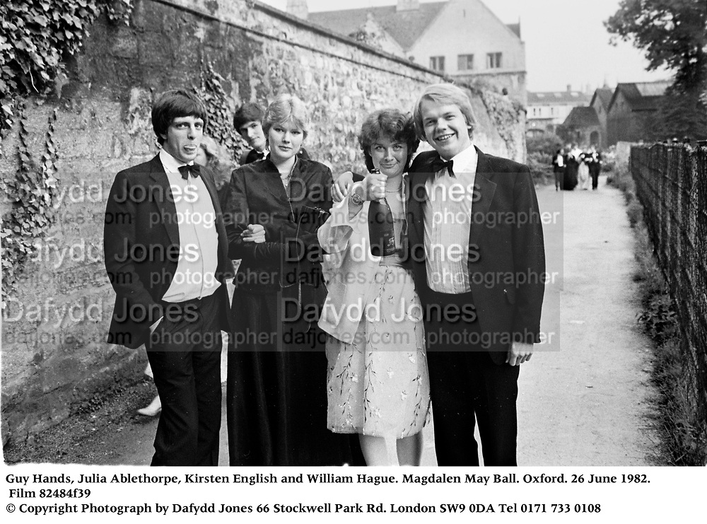 Guy Hands, Julia Ablethorpe, Kirsten English and William Hague. Magdalen May Ball. Oxford. 26 June 1982. Film 82484f39<br />