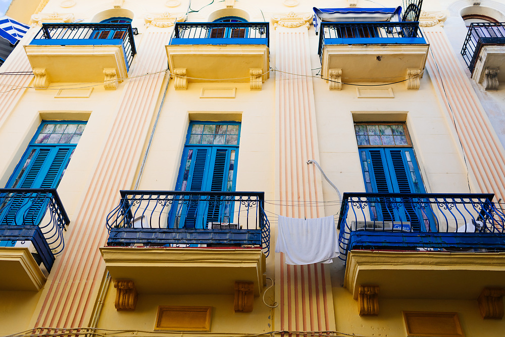 Laundry dries on balcony in Old Havana, Havana Cuba