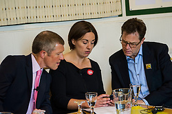 Pictured: Willie Rennie, Kezia Dugdale and Nick Cleck react to the news of the shooting of Labour MP Jo Cox<br /> <br /> Scottish Labour leader  Kezia Dugdale MSP  joined Scottish Greens Sarah-Beattie Smith, Conservative Jackson Carlop, SNP's Steven Geffins MP along with  Liberal Democrats Nick Clegg and Willie Rennie at the European Movement for Scotland rally in Edinburgh today.<br /> Ger Harley | EEm 16 June 2016