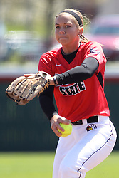 26 April 2015:   Starting pitcher for the Redbirds, Regan Romshek during an NCAA Missouri Valley Conference (MVC) Championship series women's softball game between the Loyola Ramblers and the Illinois State Redbirds on Marian Kneer Field in Normal IL