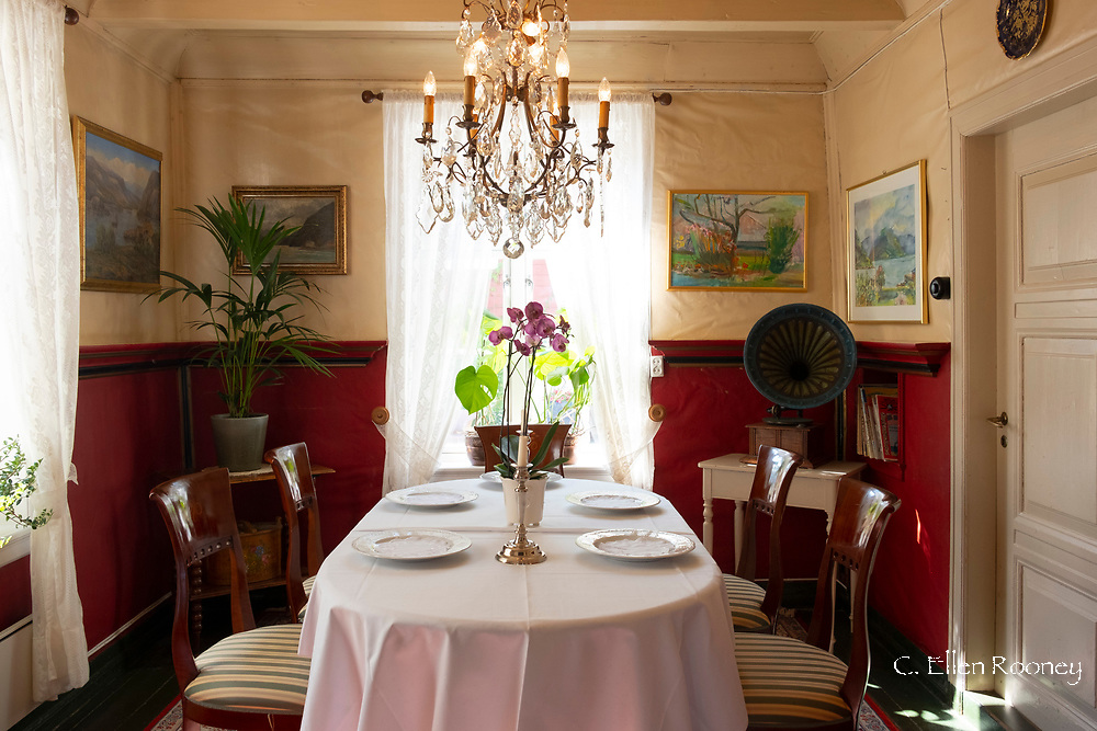 A traditional formal dining room in the Walaker Hotell, Solvorn, Lustra Fjord, Vestlandet, Norway