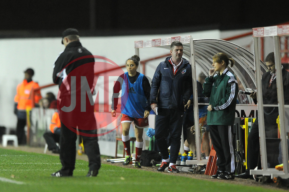 Bristol Academy Womens manager, Dave Edmondson from the touchline - Photo mandatory by-line: Dougie Allward/JMP - Mobile: 07966 386802 - 16/10/2014 - SPORT - Football - Bristol - Ashton Gate - Bristol Academy v Raheny United - Women's Champions League