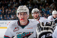KELOWNA, CANADA - APRIL 17: Cal Foote #25 of Kelowna Rockets celebrates his first WHL playoff goal during second period against the Victoria Royals on April 17, 2016 at Prospera Place in Kelowna, British Columbia, Canada.  (Photo by Marissa Baecker/Shoot the Breeze)  *** Local Caption *** Cal Foote;