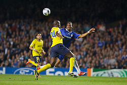 LONDON, ENGLAND - Wednesday, May 6, 2009: Chelsea's Didier Drogba and Barcelona's Yaya Toure during the UEFA Champions League Semi-Final 2nd Leg match at Stamford Bridge. (Photo by Carlo Baroncini/Propaganda)