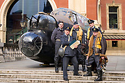 UNITED KINGDOM, London: 26 February 2018 <br /> WWII re-enactors stand in front of a 23 foot Lancaster Bomber replica in front of The Royal Albert Hall this morning to mark the 75th anniversary since 'Operation Chastise' was given final approval. It also comes before a gala screening of The Dam Busters which will be shown in May to make the occasion.<br /> Photograph: Rick Findler