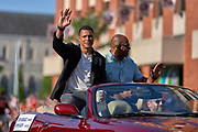 Aug 3, 2019; Canton, OH, USA; Tony Gonzalez during the Pro Football Hall of Fame Grand Parade on Cleveland Ave. in Downtown Canton. (Robin Alam/Image of Sport)