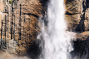 Detail of upper Yosemite Fall, Yosemite National Park, California USA