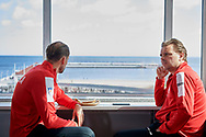 Sopot, Poland - 2018 April 06: (L) Lukasz Kubot from Poland and (R) Marcin Matkowski from Poland sit next to the window while Meet & Greet event one day before Poland v Zimbabwe Tie Group 2, Europe/Africa Second Round of Davis Cup by BNP Paribas at 100 years of Sopot Hall on April 06, 2018 in Sopot, Poland.<br /> <br /> Mandatory credit:<br /> Photo by © Adam Nurkiewicz / Mediasport<br /> <br /> Adam Nurkiewicz declares that he has no rights to the image of people at the photographs of his authorship.<br /> <br /> Picture also available in RAW (NEF) or TIFF format on special request.<br /> <br /> Any editorial, commercial or promotional use requires written permission from the author of image.