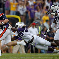 October 22, 2011; Baton Rouge, LA, USA; LSU Tigers defensive tackle Anthony Johnson (56) sacks Auburn Tigers quarterback Clint Moseley (15)during the second half at Tiger Stadium. LSU defeated Auburn 45-10. Mandatory Credit: Derick E. Hingle-US PRESSWIRE / © Derick E. Hingle 2011