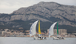 Torvar Mirsky from Mirsky Racing team ahead of Betrand Pace (fra) Aleph  during racing on day one of Match race France in Marseille,France 7 April 2010 Photo: Brendon O'Hagan/Subzero images