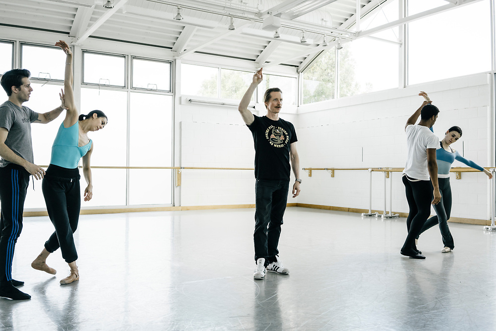 Choreographer Ethan Stiefel, center, works with dancers at the Washingon Ballet during rehearsals for Frontier on May 3, 2017. The piece is Julie Kent's' first commission as new director'. The ballet is about space exploration, and the costumes, designed by Ted Southern of Final Frontier Design, look similar to what astronauts wear.
