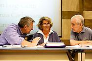 Roma 8 Settembre 2013<br /> Assemblea  in difesa della Costituzione.<br /> Maurizio Landini, segretario generale Fiom-Cgil, Sandra Bonsanti, Libertà e Giustizia, Stefano Rodotà