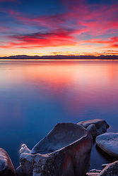 """Tahoe Boulders at Sunset 7"" - This bowl like boulder was photographed at sunset along the East Shore of Lake Tahoe."