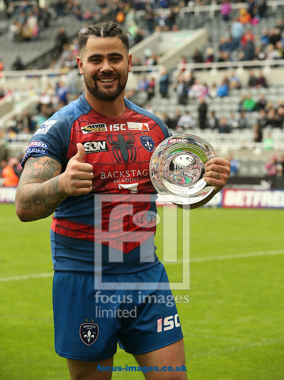 David Fifita of Wakefield Trinity with his man of the match award against Widnes Vikings during the Betfred Super League match at the Dacia Magic Weekend at St. James's Park, Newcastle<br /> Picture by Stephen Gaunt/Focus Images Ltd +447904 833202<br /> 20/05/2017
