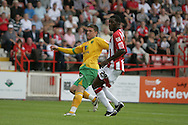 London - Saturday August 15th, 2009: Cody McDonald (L) of Norwich City watches his shot being blocked on the line during the Coca Cola League One match at St James Park, Exeter. (Pic by Mark Chapman/Focus Images)