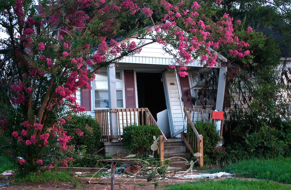 A crape myrtle tree blooms in front of a home destroyed by the April 27 tornado in Alberta City July 26, 2011 in Tuscaloosa, Ala. More than 43 people died, and more than 7,000 buildings were destroyed, when the F-5 tornado roared through the area. (Photo by Carmen K. Sisson/Cloudybright)