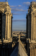 France. Paris. Notre Dame cathedral. the towers  of Notre dame cathedral view from the spire