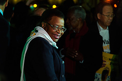 "London, October 23 2017. Nelson Mandela's group of Elders including former UN Secretary General Kofi Annan and Secretary General Ban Ki-moon accompanied by his widow Graca Machel gather at Parliament Square at the start of the Walk Together event in memory of Nelson Mandela before a candlelight vigil at his statue in Parliament Square. ""WalkTogether is a global campaign to inspire hope and compassion, celebrating communities working for the freedoms that unite us"". PICTURED: Graca Machel in Parliament Square  © Paul Davey"