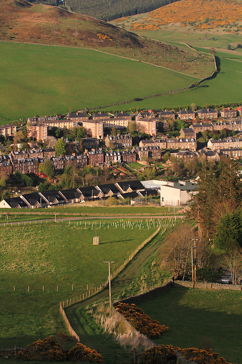 The region in the town of Galashiels known as 'Halliburton' on a late spring evening
