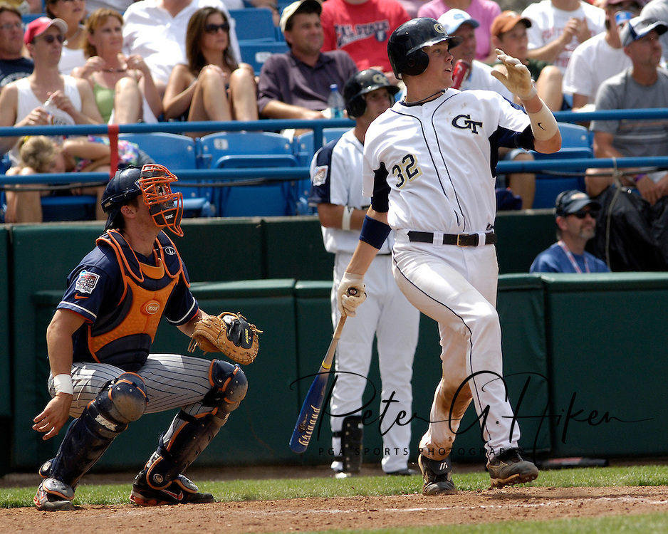 Georgia Tech's Matt Wieters hits a solo homerun in the bottom of the seventh inning, giving Tech a 5-4 lead over Cal State Fullerton.  Cal State Fullerton eliminated Georgia Tech with a 7-5 win at the College World Series at Rosenblatt Stadium in Omaha, Nebraska, June 18, 2006.