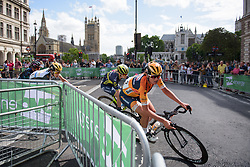 Chantal Blaak in the first lap as Boels Dolmans tear up the peloton - Stage 5 of the OVO Energy Women's Tour - a 88.2 km road race, starting and finishing in London on June 11, 2017, in the United Kingdom. (Photo by Sean Robinson/Velofocus.com)