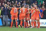 GOAL James Collins is congratulated on scoring 2-0 during the EFL Sky Bet League 1 match between Luton Town and Rochdale at Kenilworth Road, Luton, England on 2 March 2019.